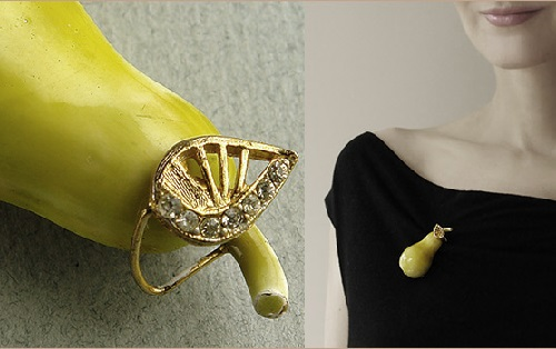 Vintage brooch in the form of volumetric pear