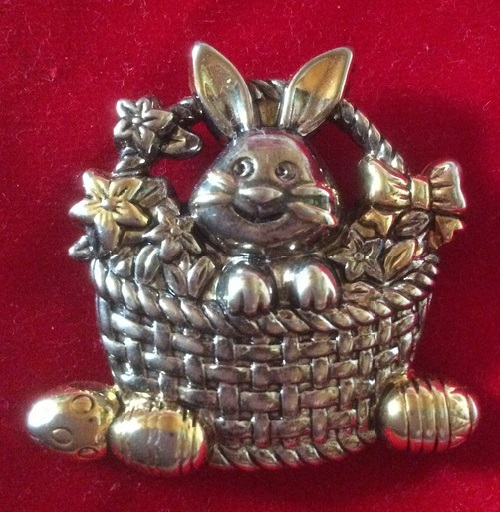 Vintage brooch pendant Easter Bunny, USA 1950s