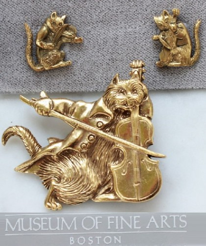 Cats musicians. Set of brooch and earrings, MFA unique jewellery