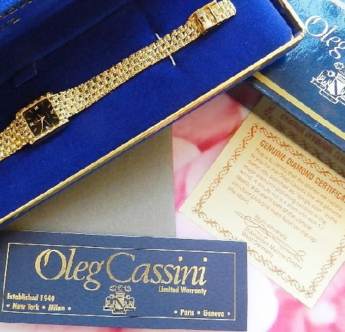 Wrist watch by the famous American designer Oleg Cassini, 1989. Under the glass on the watch dial are four diamonds