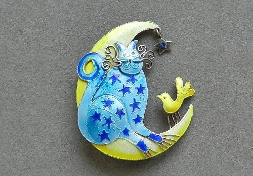 Zarah sterling silver, enamel brooch of 1990s