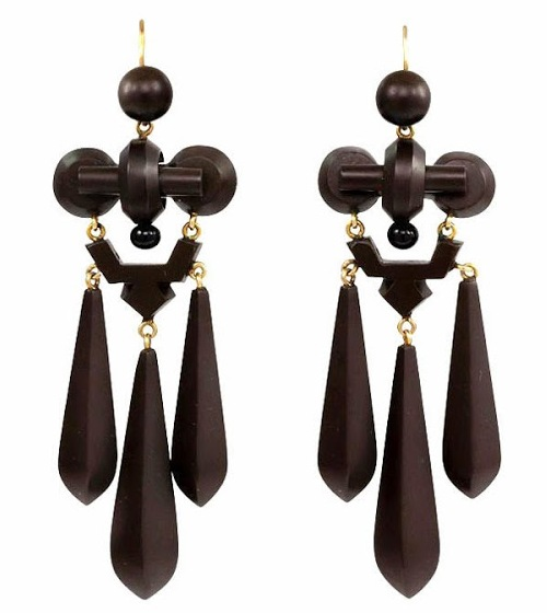 1860s mourning earrings