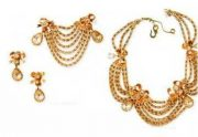 1951 Gold tone necklace, brooch and earrings, Mitchel Maer. Artificial diamonds, enamel £ 1500-1800