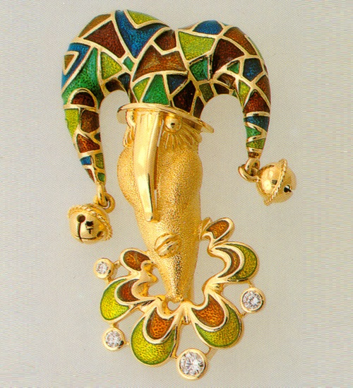 Brooch Jester. 1995 Gold, enamel, diamonds