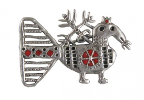 Brooch from the collection of Solstice, silver, hot enamel
