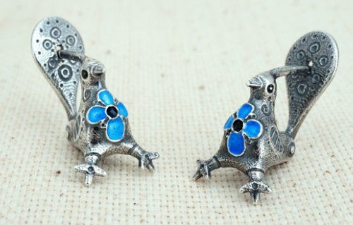 Earrings Birds, silver, hot enamel