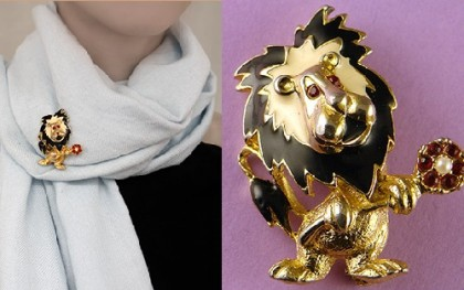Funny gold brooch Lion Marking – Gerry's, 1960-70s