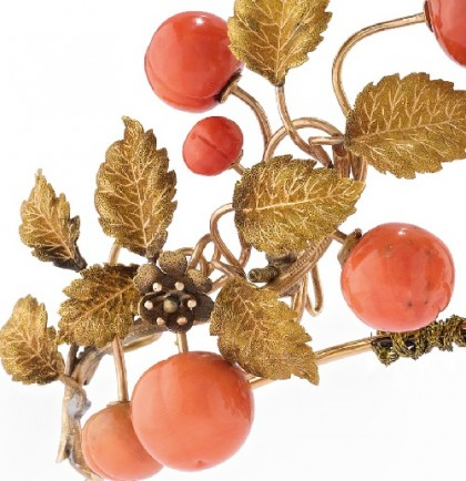 Diadem of Gold and coral (detail), 19th century