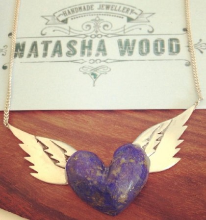Lapis lazuli hand carved heart with silver wings