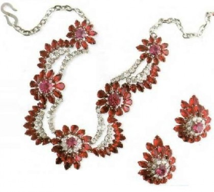 Necklace and earrings. metal coated with rhodium, artificial rubies, rhinestone, 1959