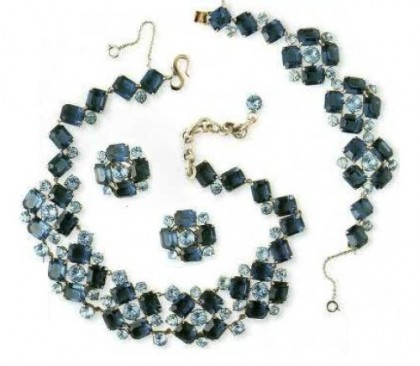 Necklace, bracelet and earrings, Mitchell Maer. metal coated with rhodium, synthetic sapphire, rock crystal. Early 1950s. Christian Dior jewellery