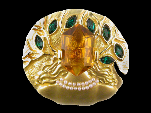 Ophelia gold brooch (1953). Citrine, Demantoid Garnet, Pearl