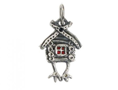 Pendant Hut on hen's legs, from Russian folklore, silver, hot enamel