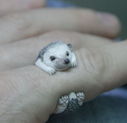 'Hedgehog'. Miniature Animal Cling Rings by Ivan, St. Petersburg