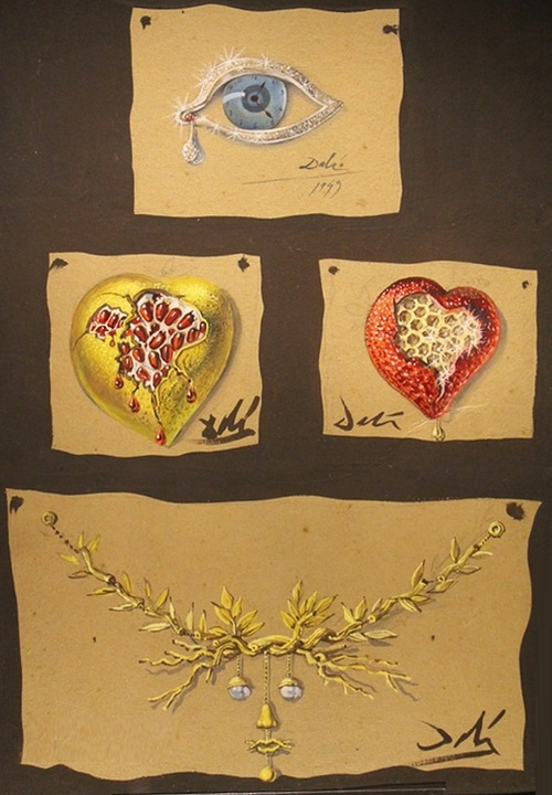 Salvador Dali vintage brooches, which are currently on display in the museum theater of Dali in Spain