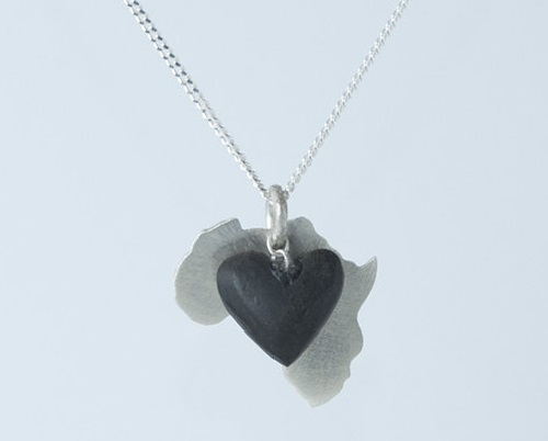 Silver africa pendant with a dangling wooden heart kaleidoscope effect silver africa pendant with a dangling wooden heart audiocablefo