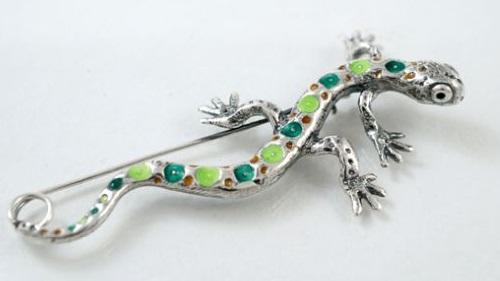 Silver brooch Bio, hot enamel