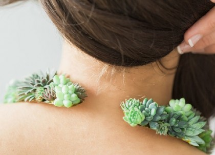 Back of Succulent necklace. Susan McLeary Living Jewellery
