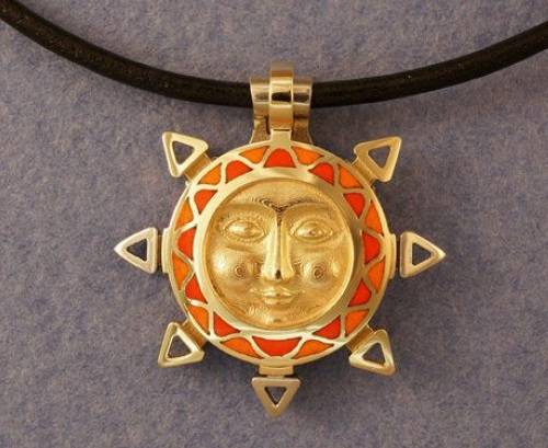 Sun Medallion Gold, silver, hot enamel. Jeweler Ilya Palkin