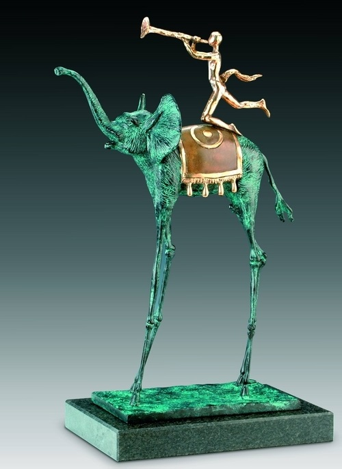 Triumphal elephant. Bronze with green patina, polished bronze and stone. 1975