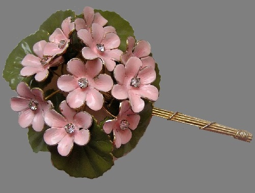 Vintage Brooch pink flowers on a green leaf, Original by Robert