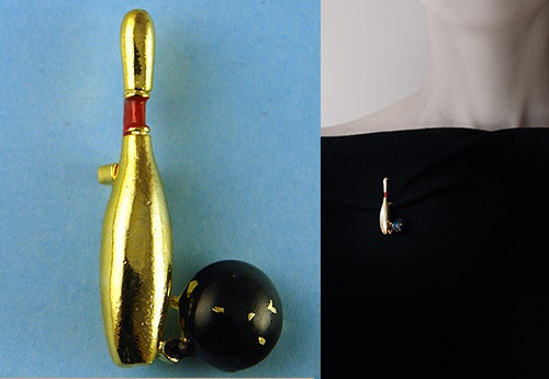 Vintage funny brooch for Ten-pin bowling lovers