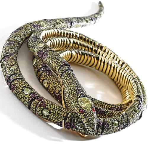 18 karat gold, colored diamond and ruby snake jewel, Michele Della Valle