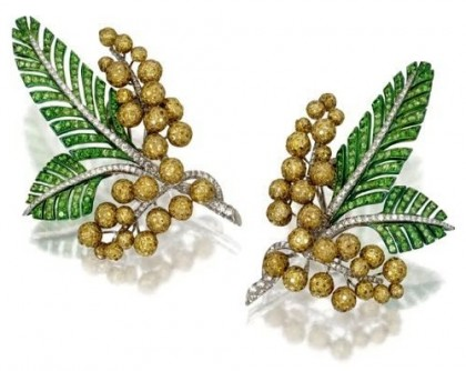 Mimosa Earrings. Gold, diamonds, tsavorite. Christie's auction