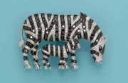 Zebra mother with a baby. Diamonds. Michele Della Valle brooch