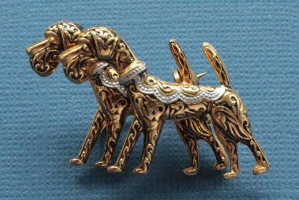 Damascene vintage brooch Dogs, 1950s