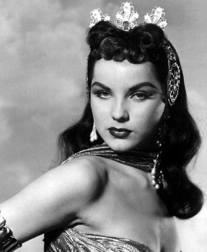 Wearing hair decorations Debra Paget