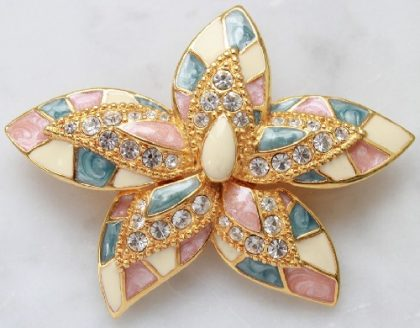 Enameled inserts, Orchid. Joan Rivers vintage brooch