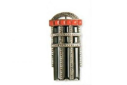 1929 Art Deco brooch. silver, marcasite, onyx, and coral cabochons