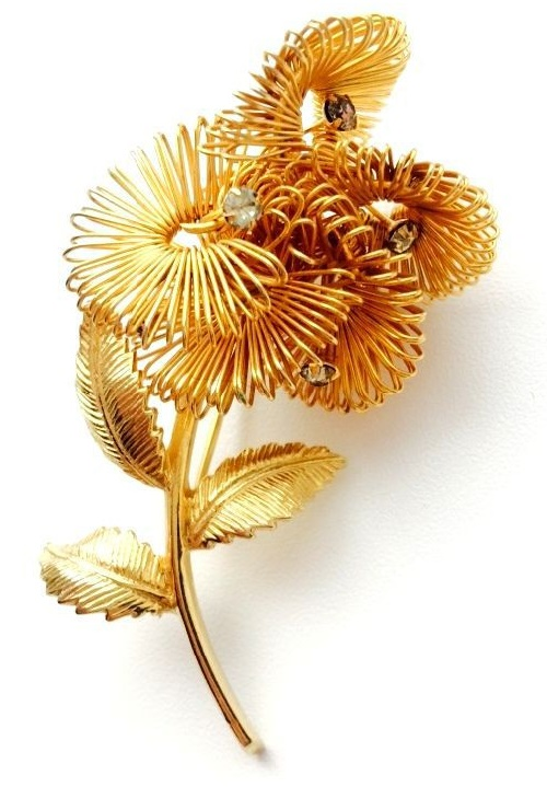 Castlecliff rare vintage brooch - volumetric golden flower of unusual design, accented with crystals. 1960s