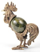 Bronze Figurine 'Rooster' with inset stone of a coil. uralbronza.livemaster