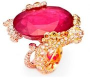 Gecko Ring ruby, colorless and yellow diamonds