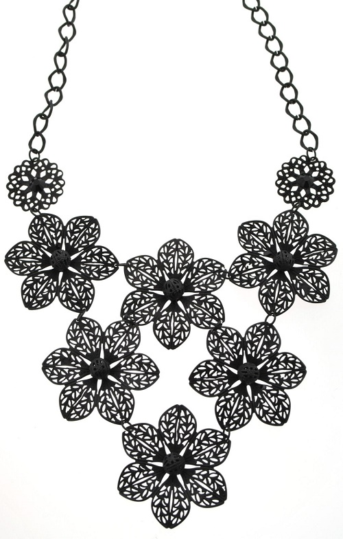 Black-tone filigree flower necklace