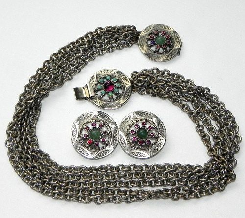 Folk style necklace and ear clips