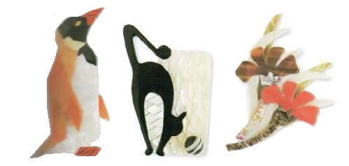 Penguin, black cat and flower brooches