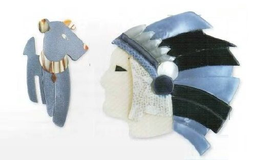 'Rick Dog' and Leader of the Indians brooches. Rodoid layered with metal inserts. 1980
