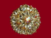 Jewelery alloy, Gilding, Crystal Aurora Borealis, Rhinestone of golden hue, early 1970 brooch
