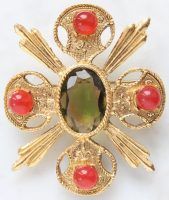 Maltese cross. Original brooch with cabochons for red jade and a central crystal made from watermelon glass