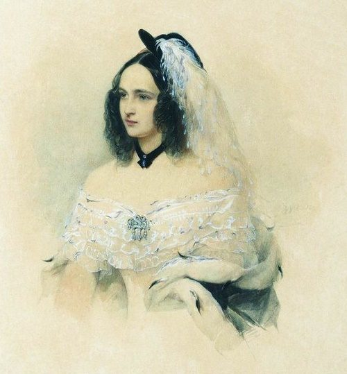 Portrait of Natalia Goncharova by Hau, 1844