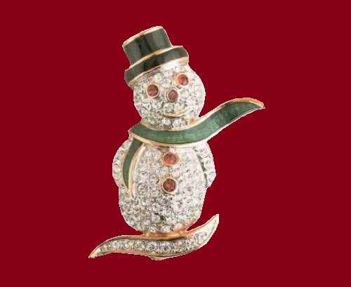 Brooch Snowman. Metal - gilding, enamel, rock crystal. The end of the 1990's. Length 3.5 cm