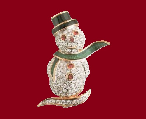 Brooch Snowman. Metal - gilding, enamel, rock crystal. The end of the 1990's. Length 3.5 cm. Attwood and Sawyer vintage costume jewellery