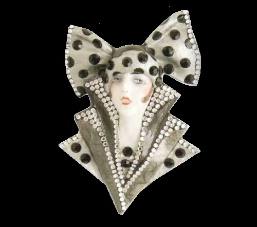 Gatsby girl of 1920s brooch. Black and gray plastic, makeup - enamel, transparent rock crystal, 1975. 9 cm. Barry Parman costume jewellery