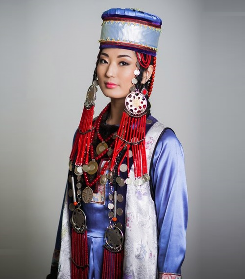 Buryat woman traditional jewellery decorations