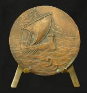 A ship in a sea storm. Medal
