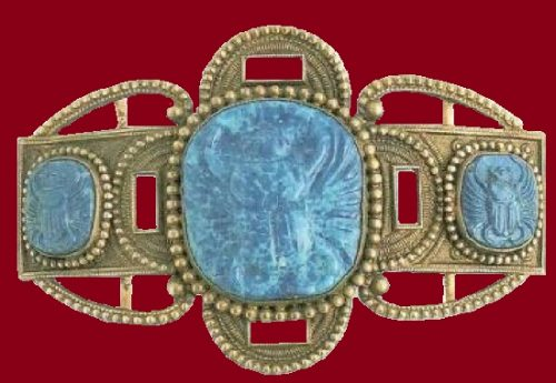 Belt buckle. Brass, three stone blue cameos with crabs. 1905