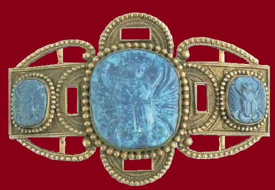 Belt buckle. Brass, three stone blue cameos with crabs. 1905. Gabriel Argy-Rousseau jewellery